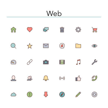 Web and internet colored line icons set.  Ilustracja