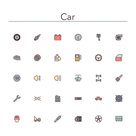 flat tyre: Car colored line icons set. Vector illustration.