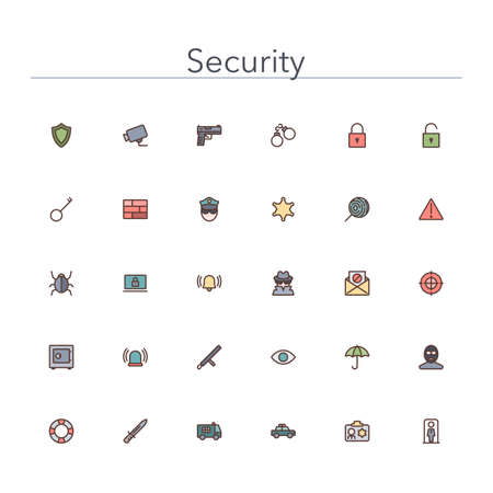 gun license: Security and Safety colored line icons set. Vector illustration.