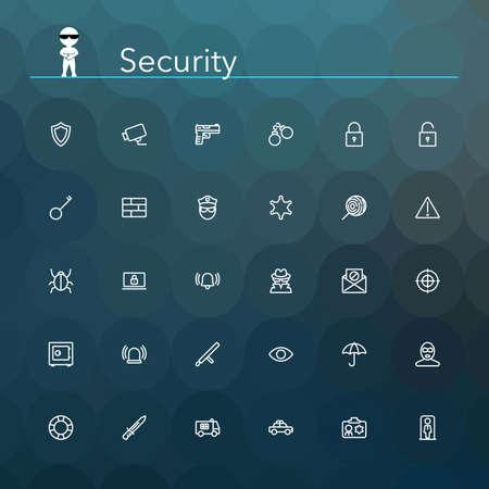 ladron: Seguridad y l�nea de seguridad iconos conjunto. Ilustraci�n del vector. Fondo geom�trico.