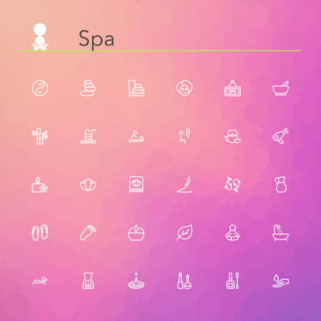 manicure pink: Spa line icons set. Vector illustration. Geometric background.