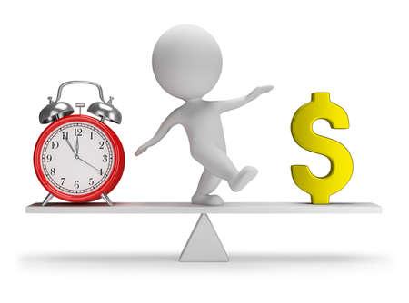 tempo: Pessoa 3d pequena que alcança um equilíbrio entre tempo e dinheiro. Imagem 3d. Fundo branco.
