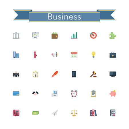 financial managers: Business and finance flat icons set. Vector illustration. Illustration