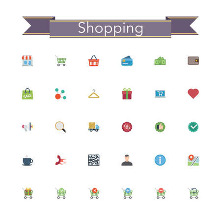 gift basket: Shopping and sale flat icons set. Vector illustration.