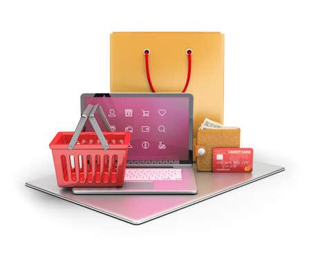 bugs shopping: 3d concepto de comercio electr�nico y tienda online. Imagen en 3D. Fondo blanco.