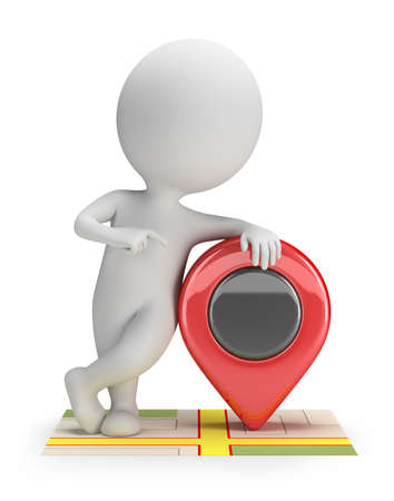 white pointer: 3d small person standing on the map with a pointer. 3d image. White background.