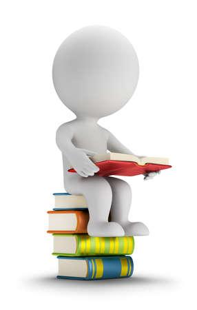 persona seduta: 3d piccola persona seduta sui libri. Immagine 3D. Sfondo bianco. Archivio Fotografico
