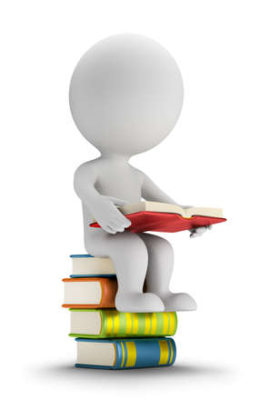 literary characters: 3d small person sitting on the books. 3d image. White background.