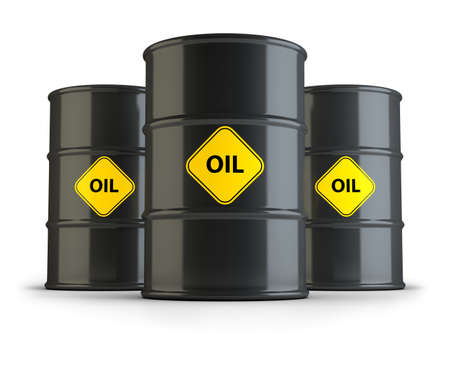 natural gas prices: Three oil barrels. 3d image. Isolated white background.