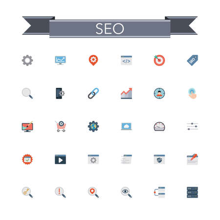 icons site search: SEO and development flat icons set. Vector illustration. Illustration