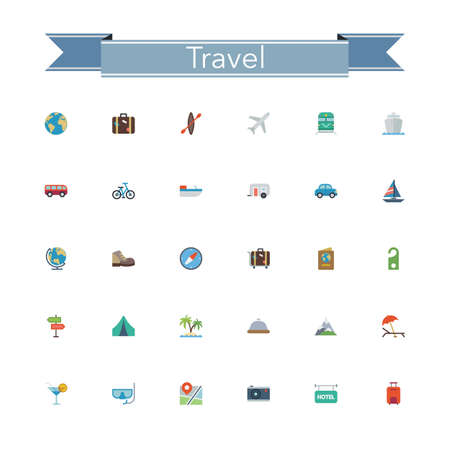 website: Travel and tourism flat icons set. Vector illustration.