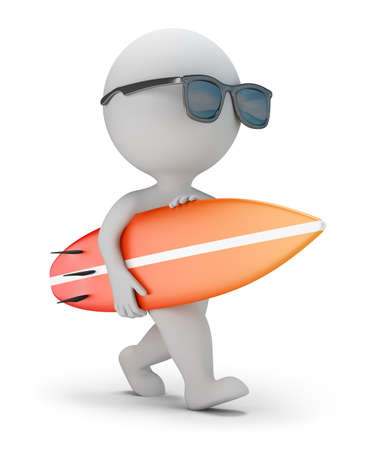 3d small person: 3d small person in sunglasses walking with surfboard. 3d image. White background.