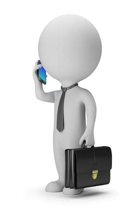 little man: 3d small people - businessman with phone. 3d image. White background. Stock Photo