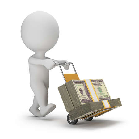 paying bills: 3d small person carrying cart with packs of dollars. 3d image. White background.