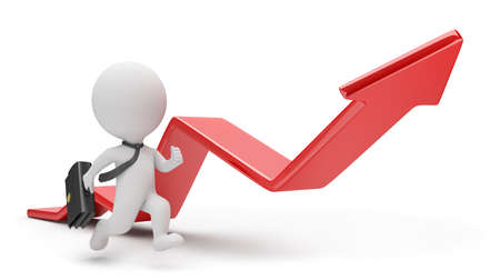 3d small person: 3d small person - businessman running for a red arrow graph. 3d image. White background. Stock Photo