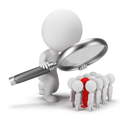 magnify: 3d small person selects staff. 3d image. White background. Stock Photo