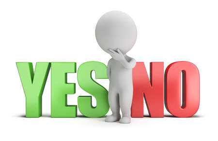 3d image: 3d small person standing between the words yes and no. 3d image. White background. Stock Photo