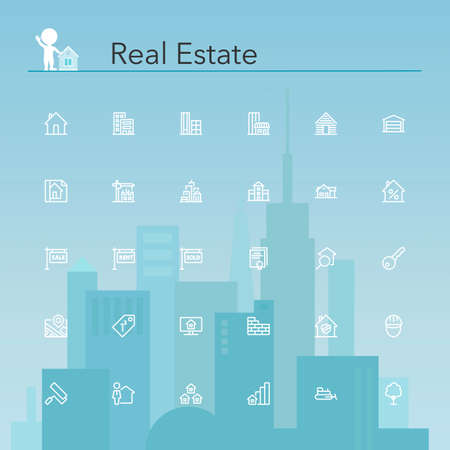 real estate icons: Real estate line icons set. Vector illustration.