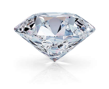 diamond background: A beautiful sparkling diamond on a light reflective surface. 3d image. Isolated white background.