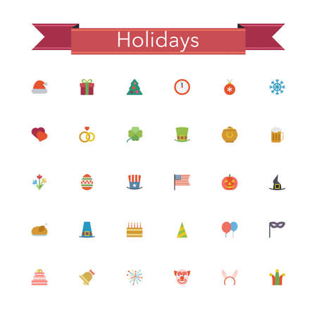 Holidays and events flat icons set. Vector illustration. Illustration