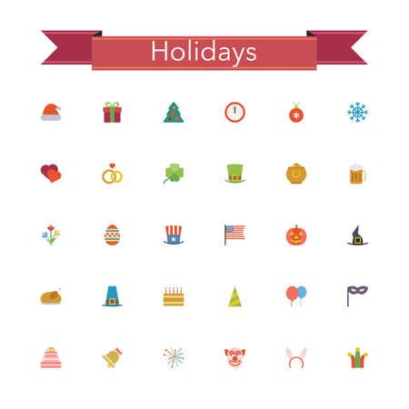 thanksgiving day symbol: Vacanze ed eventi icone piane impostate. Illustrazione vettoriale.