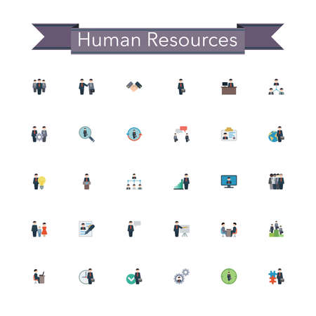 Human resources flat icons set. Vector illustration.