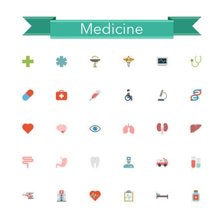 stethoscope icon: Medicine flat icons set. Vector illustration.