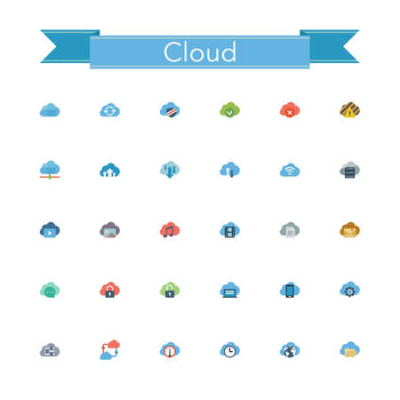 Cloud and Server flat icons set. Vector illustration.