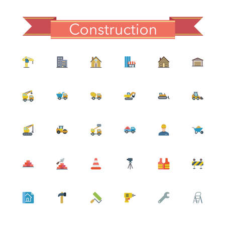 brick road: Construction flat icons set. Vector illustration.