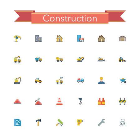 teodolito: Iconos planos de construcción. Ilustración del vector.