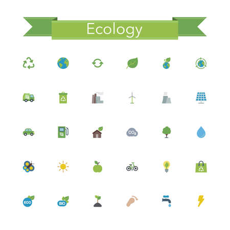 naturism: Ecology and Recycling flat icons set. Vector illustration.