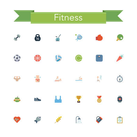 massage symbol: Fitness and a healthy lifestyle flat icons set. Vector illustration. Illustration
