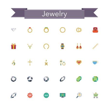 Jewelry flat icons set. Vector illustration.