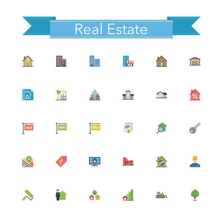 buying: Real estate flat icons set. Vector illustration. Illustration