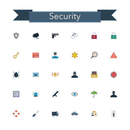 gun license: Security and Safety flat icons set. Vector illustration.
