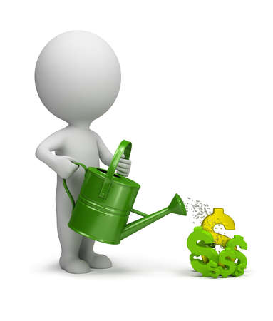 3d small person watering the dollar. 3d image. White background. Stockfoto