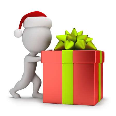 empujando: 3d peque�a gente - Santa que empuja un regalo. 3d imagen. Fondo blanco. Foto de archivo