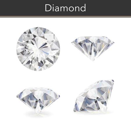 Vector fotorealistische afbeelding van een diamant. Geïsoleerde witte achtergrond.
