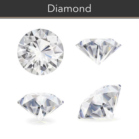 Vector photorealistic illustration of a diamond. Isolated white background.