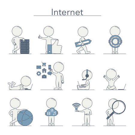 internet technology: Outline people - Internet and technology. Vector illustration.