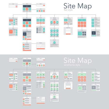 웹 사이트 순서도 사이트 맵의 평면 및 와이어 프레임 디자인 스타일 벡터 일러스트 레이 션 개념입니다.
