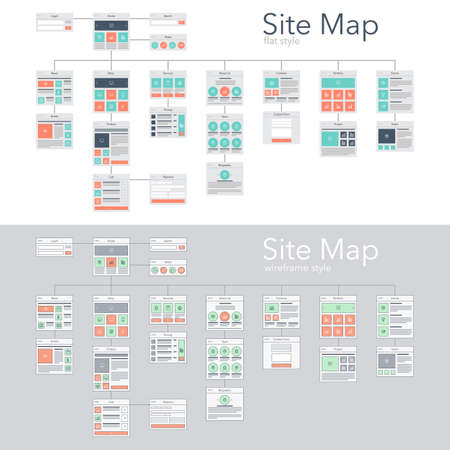 information management: Flat and wireframe design style vector illustration concept of website flowchart sitemap. Illustration