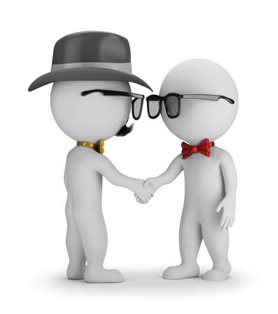 thirties: 3D Hipster - Handshake. 3d image. White background. Stock Photo