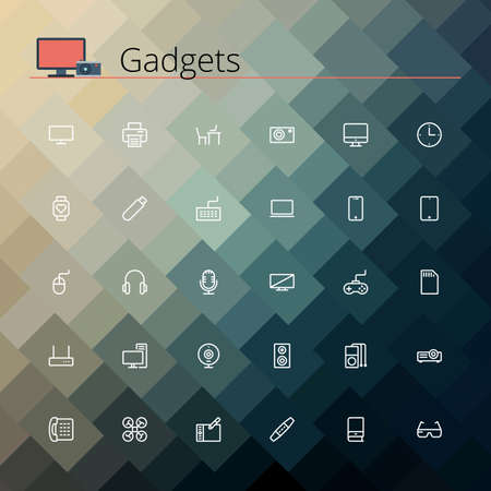 Gadgets and devices line Icons set. Pixel perfect icons. Vector illustration. Geometric background.