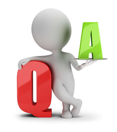 3d small person: 3d small person with the letter Q and A. 3d image. White background.