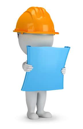 3d piccola persona - costruttore con il piano nelle sue mani. immagine 3D. Sfondo bianco. Archivio Fotografico