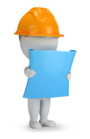 construction helmet: 3d small person - builder with the plan in his hands. 3d image. White background. Stock Photo