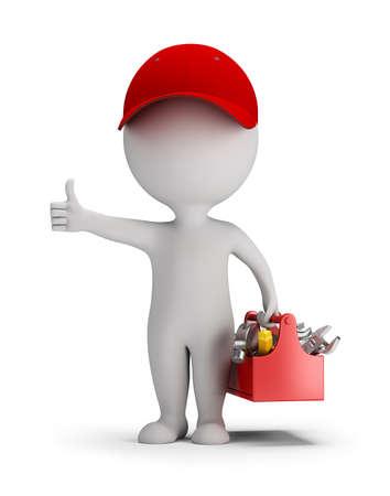 3D pequeña persona - mecánico con la caja de herramientas. Pulgar arriba. 3d imagen. Fondo blanco.