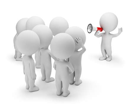 3d small person talking on a megaphone to the crowd. 3d image. White background. Stockfoto