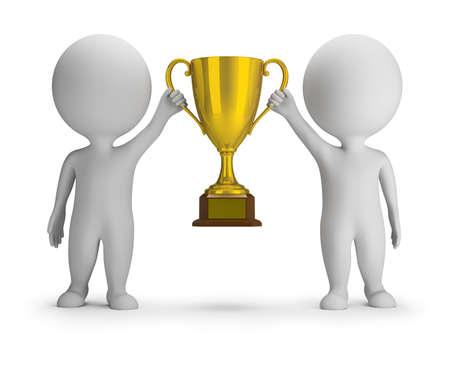 3d kleine mensen - twee winnaars met een gouden beker. 3D-beeld. Witte achtergrond.